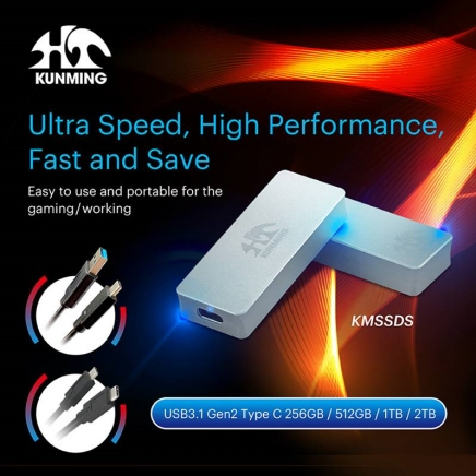 KMSSDS - External M.2 NVMe SSD Hard Disk Ultra Speed, High Performance, Fast and Save